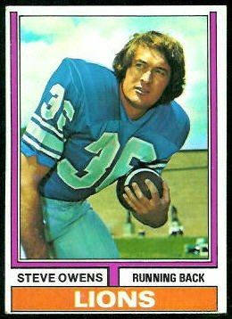 Steve Owens 1974 Topps football card