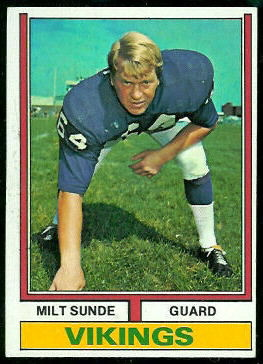 Milt Sunde 1974 Topps football card