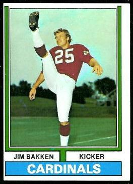 Jim Bakken 1974 Topps football card