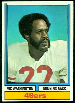 Vic Washington 1974 Topps football card