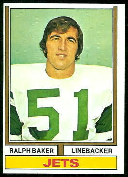 Ralph Baker 1974 Topps football card