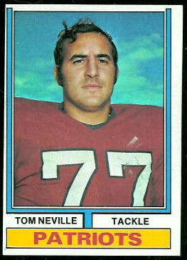 Tom Neville 1974 Topps football card