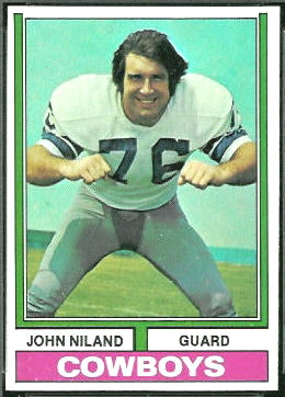 John Niland 1974 Topps football card