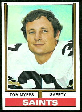 Tom Myers 1974 Topps football card