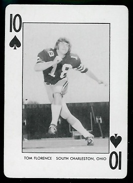 Tom Florence 1974 West Virginia Playing Cards football card