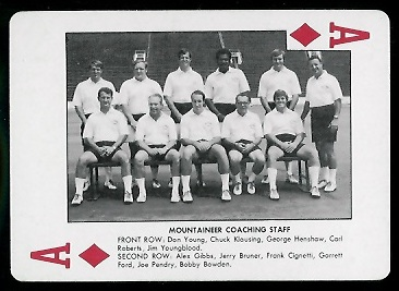 Mountaineer Coaching Staff 1974 West Virginia Playing Cards football card