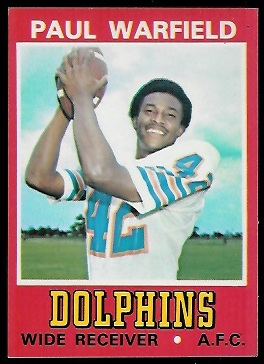 Paul Warfield 1974 Wonder Bread football card