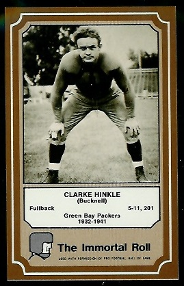 Clarke Hinkle 1975 Fleer Immortal Roll football card