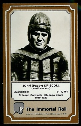 Paddy Driscoll 1975 Fleer Immortal Roll football card
