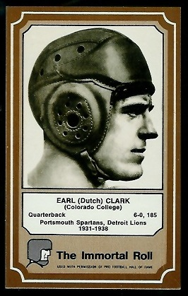 Dutch Clark 1975 Fleer Immortal Roll football card