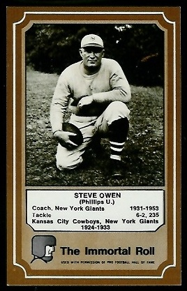 Steve Owen 1975 Fleer Immortal Roll football card