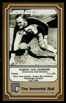 Cal Hubbard 1975 Fleer Immortal Roll football card