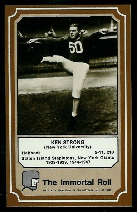 Ken Strong 1975 Fleer Immortal Roll football card