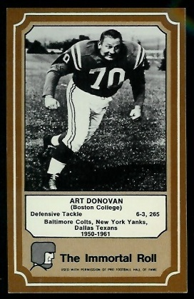 Art Donovan 1975 Fleer Immortal Roll football card