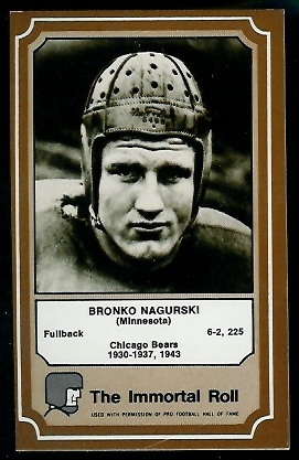 Bronko Nagurski 1975 Fleer Immortal Roll football card