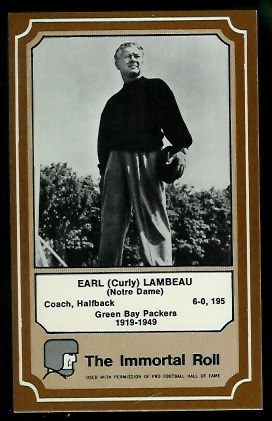 Curly Lambeau 1975 Fleer Immortal Roll football card