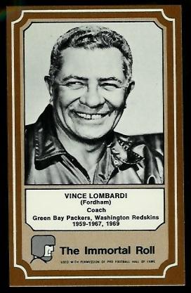 Vince Lombardi 1975 Fleer Immortal Roll football card