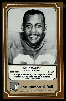 Ollie Matson 1975 Fleer Immortal Roll football card