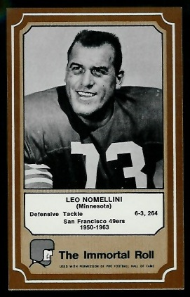Leo Nomellini 1975 Fleer Immortal Roll football card