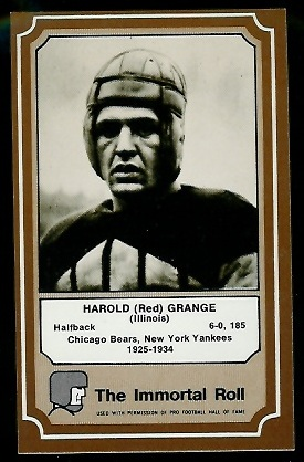 Red Grange 1975 Fleer Immortal Roll football card