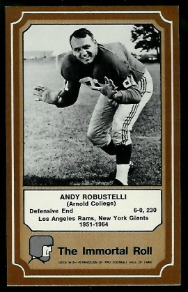 Andy Robustelli 1975 Fleer Immortal Roll football card