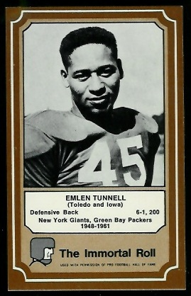 Emlen Tunnell 1975 Fleer Immortal Roll football card