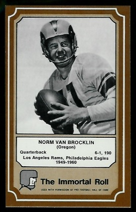 Norm Van Brocklin 1975 Fleer Immortal Roll football card