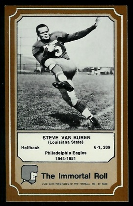 Steve Van Buren 1975 Fleer Immortal Roll football card