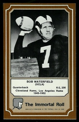 Bob Waterfield 1975 Fleer Immortal Roll football card