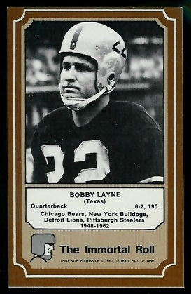 Bobby Layne 1975 Fleer Immortal Roll football card