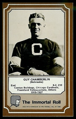 Guy Chamberlin 1975 Fleer Immortal Roll football card