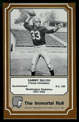 Sammy Baugh 1975 Fleer Immortal Roll football card