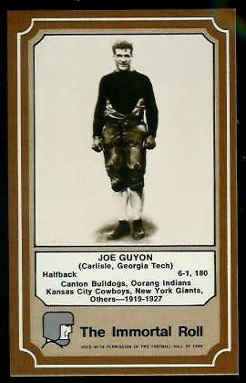 Joe Guyon 1975 Fleer Immortal Roll football card