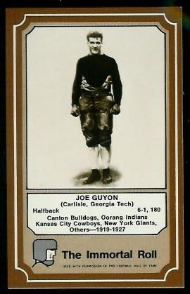 Joe Guyon 1975 Fleer Immortal Roll football card