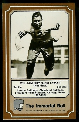 Link Lyman 1975 Fleer Immortal Roll football card