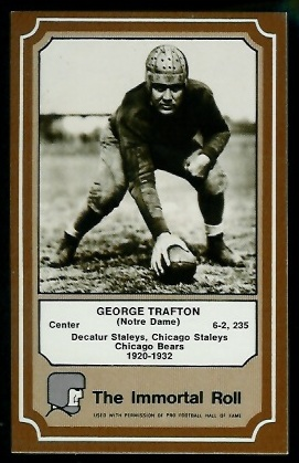 George Trafton 1975 Fleer Immortal Roll football card