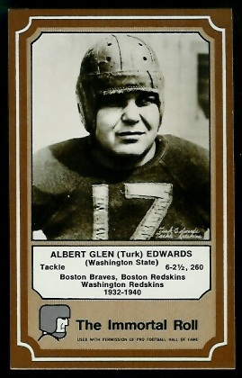 Turk Edwards 1975 Fleer Immortal Roll football card