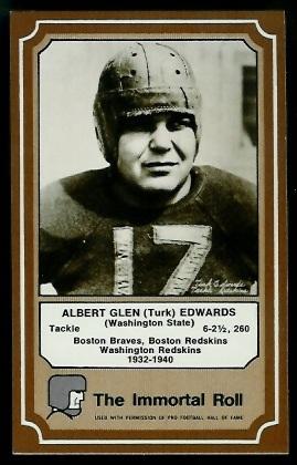 Turk Edwards 1975 Fleer Immortal Roll football card