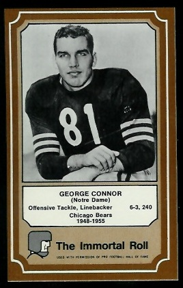 George Connor 1975 Fleer Immortal Roll football card