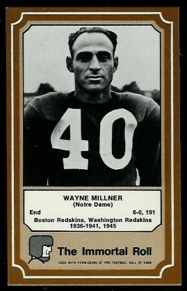 Wayne Millner 1975 Fleer Immortal Roll football card