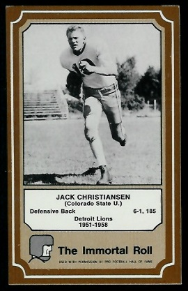 Jack Christiansen 1975 Fleer Immortal Roll football card