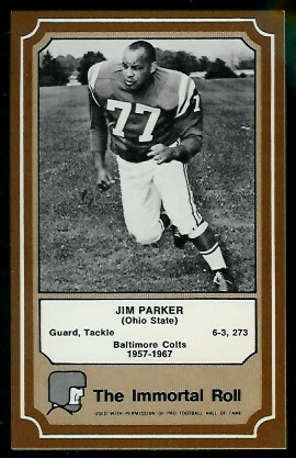 Jim Parker 1975 Fleer Immortal Roll football card
