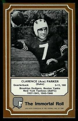 Ace Parker 1975 Fleer Immortal Roll football card