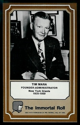 Tim Mara 1975 Fleer Immortal Roll football card