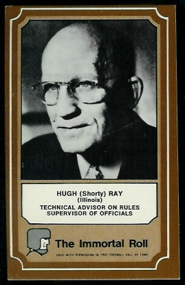 Shorty Ray 1975 Fleer Immortal Roll football card