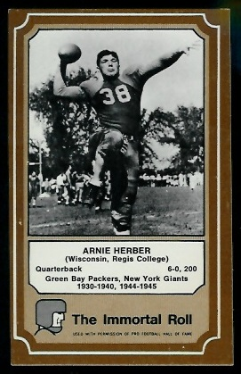Arnie Herber 1975 Fleer Immortal Roll football card