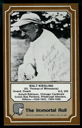 Walt Kiesling 1975 Fleer Immortal Roll football card