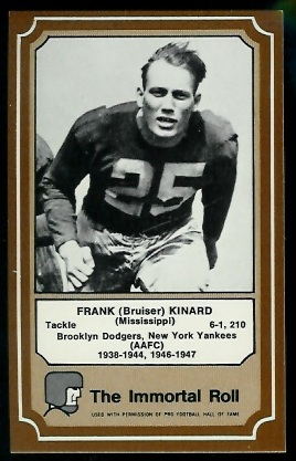 Bruiser Kinard 1975 Fleer Immortal Roll football card