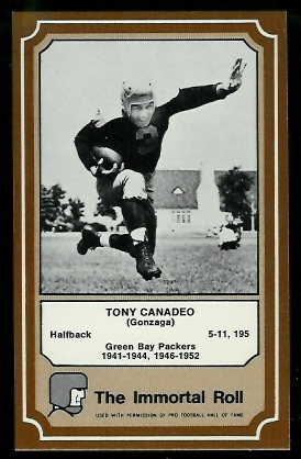 Tony Canadeo 1975 Fleer Immortal Roll football card