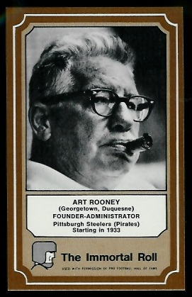 Art Rooney 1975 Fleer Immortal Roll football card